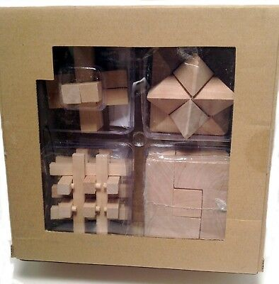 Brain Teaser Wood Cube Puzzles 4 pack