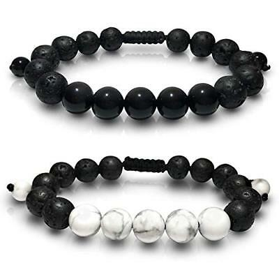 Lava Rock Stone Essential Oil Anxiety Diffuser Bracelet, Meditation Healing