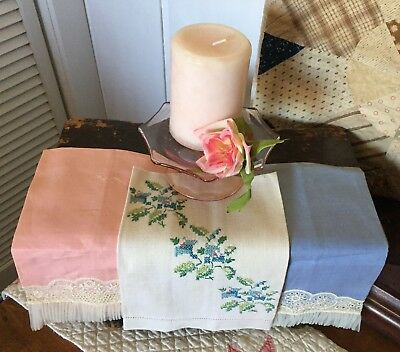 Vintage Antique Old Linen Hand Embroidered Floral & Pink & Blue Lace Hand Towels