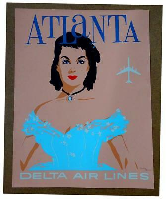 Delta Airlines Atlanta Gone With The Wind Poster Scarlect O'Hara 2659/3000