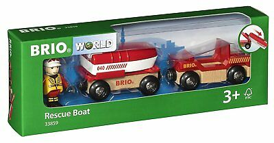 33859 BRIO Rescue Boat (Wooden Railway Rolling Stock) Age 3 Years+