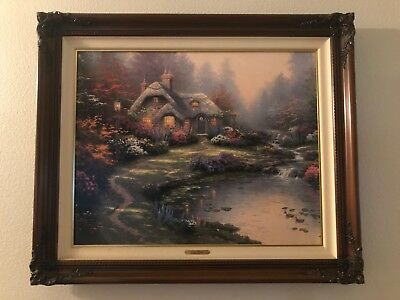 """Thomas Kinkade """"Everett's Cottage"""" Limited Edition Lithograph Signed Canvas"""