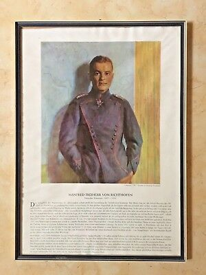 "ORIGINAL""THE RED BARRON"" MANFRED VON RICHTHOFEN MEMORIAL PRINT FRAMED c1940S"