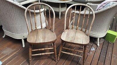 Matching Pair Of Rustic Hardwood Chairs with Bentwood Backs
