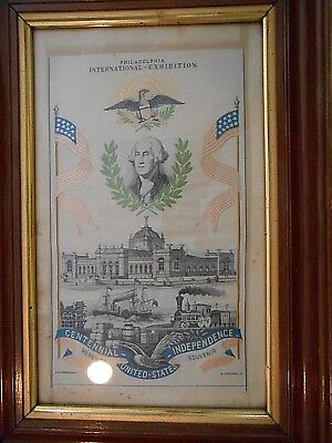 Stevengraph of Centennial 1876 Philadelphia Exhibition George Washington Silk nm