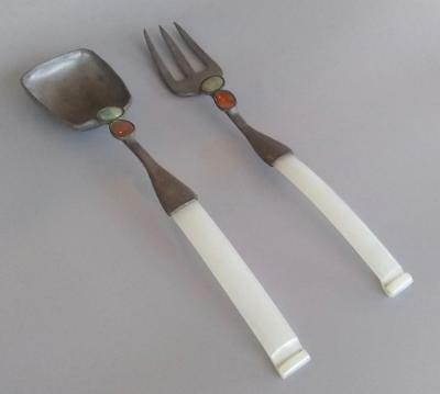 Antique Chinese Pewter White Jade Salad Serving Fork Spoon