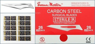 10 Sterile Swann Morton Steel No 26 Sealed Scalpel Blades Blade For Handle #4 6