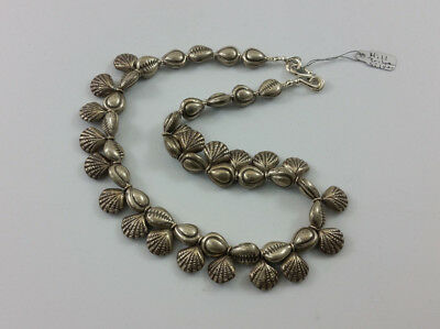 Vintage Thailand Hill Tribe Silver Cowrie & Clam Shell Beads Handmade Necklace