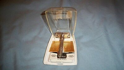 Gillette Slim Jim H-3 Adjustable Safety Razor (Silvertone)  W/ Case and Blades
