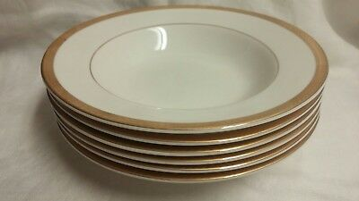 Block Kings Point Design 6 Gold Rimmed White 9 Inch Soup/Salad Bowls 1998