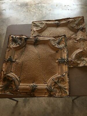 "Two Tin Architectural Ceiling Antique Tiles - 24 1/2"" x 24 1/2"""