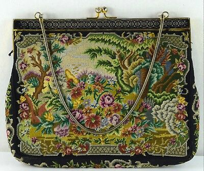 Vintage Petit Point Needlepoint Floral / Roses Tapestry Evening Bag CC-17