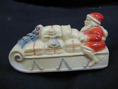 "Antique Santa Claus On Sleigh Celluloid Rattle 3 1/4"" Made In U.s.a."