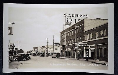 A Business Section Elko Nevada Commercial Hotel Garage Cafe Hale Drugstore Rppc