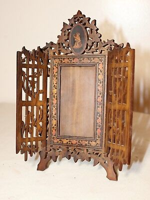 antique hand carved made Italian Walnut & Satinwood table hinged picture frame
