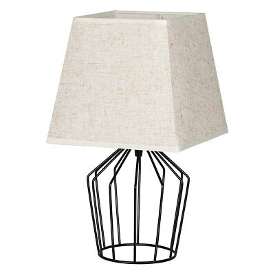 HAITRAL Table Lamps Modern Basket Cage Style Chrome Metal Base with Linen Fabric