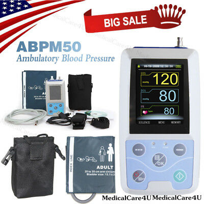 24 Hours Ambulatory Blood Pressure Monitor Pulse Heart Rate Meter NIBP Holter+CD