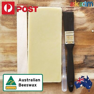 Pure Beeswax Cosmetic BLOCK Candle Soap Food Wrap Bees Wax brush Kit DIY