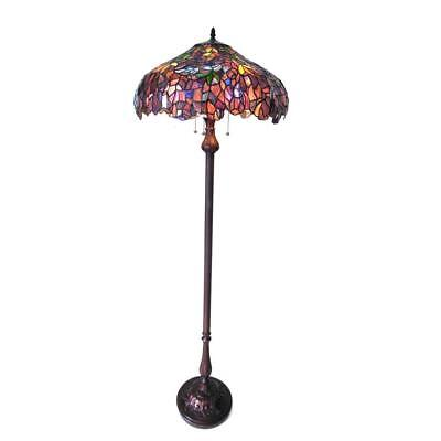 "Stained Glass Chloe Lighting Wisteria 3 Light Floor lamp 20"" Shade Handcrafted"