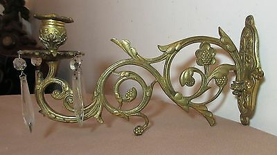 large antique Victorian ornate cast brass cut crystal wall candle holder sconce