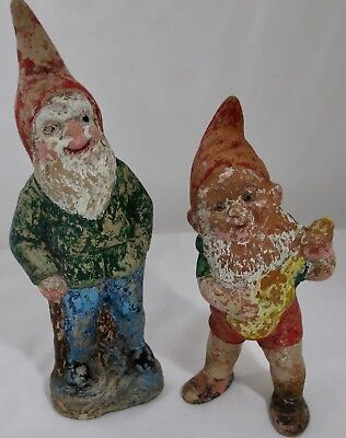 Garden Gnomes Set of 2 Terra Cotta Weathered Paint Vintage Cottage Style