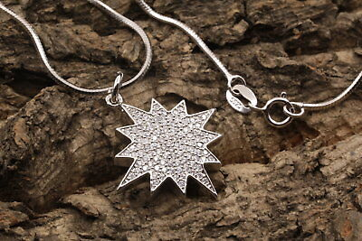 Star micro pave cubic zircon pendant 925 sterling silver chain necklace gift A14