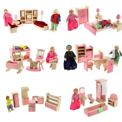 Wooden Furniture Room Set Dolls Miniature Family House Kids Children Toy Gift