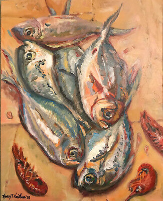 "Fish Crawfish 8""x10"" Limited Edition Oil Painting Print Signed Art Home Decor"