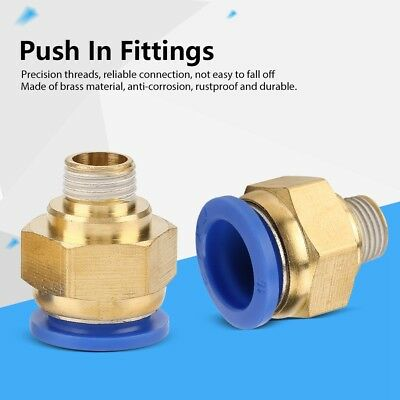 16mm Air Pneumatic Straight Push In Fittings Set Male Thread Quick Connector ZY
