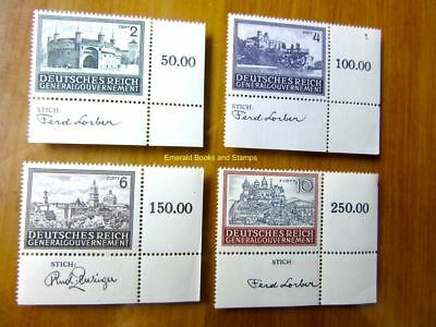 EBS Generalgouvernement 1943 Buildings STICH CORNER TABS 113-116 MNH**