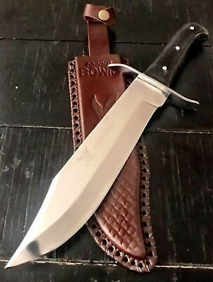 "15"" TACTICAL BOWIE SURVIVAL HUNTING KNIFE MILITARY DAGGER Fixed Blade Leather BH"