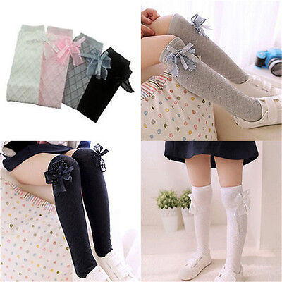 Girl Classic Kids Cotton Socks Tights School High Knee Gridding Bow Stockings KW