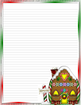 25 Sheets Computer Stationary Christmas Gingerbread House Lined  8-1/2 x 11