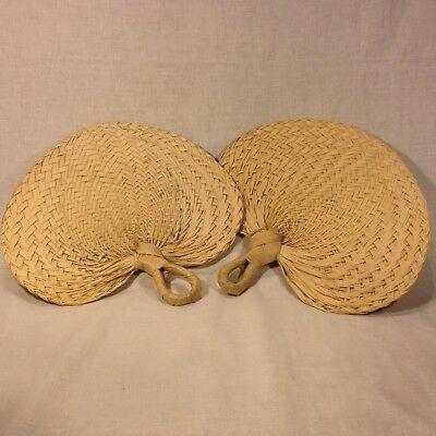 Vietnamese Hand Woven Palm/Coconut Leaf Hand Fan (pair)