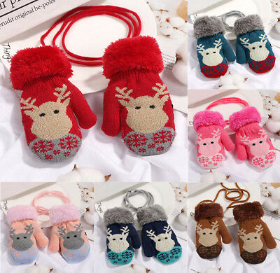 Thick Winter Warm Elk Baby Kids Children Mittens Cuffed Knitted Gloves String