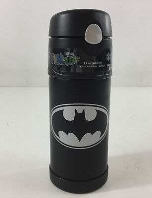 Thermos Funtainer Batman Water Bottle New 12 Oz Vacuum Sealed Push Button Lid