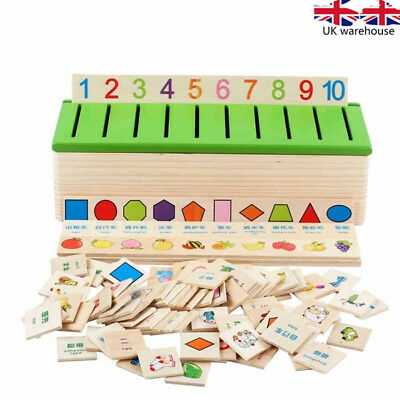 kids Knowledge Learning Shape Classification Box Toy Wooden Puzzle Matching UK