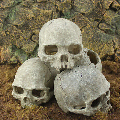 Aquarium Resin Skull Head Cave Ornament Fish Tank Underwater Decoration Decor KW