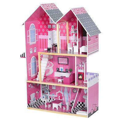 Wooden Kids Doll House With Furniture & Staircase Fits Barbie Dollhouse for Girl