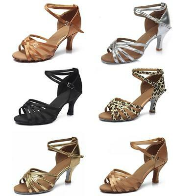 Ladies Samba Latin Tango Shoes Heeled Professional Dance Shoes Sandals 5 CM