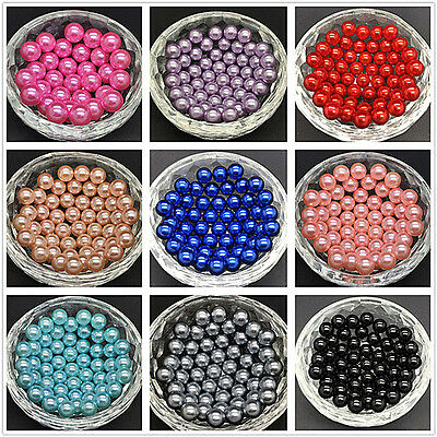 100pcs DIY 4mm 6mm 8mm No Hole Round Pearl Loose Acrylic Beads Jewelry Making FL