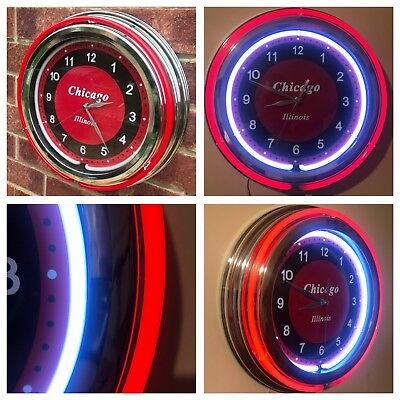 Neon Duel Light American Diner Style Chrome Effect Wall Clock