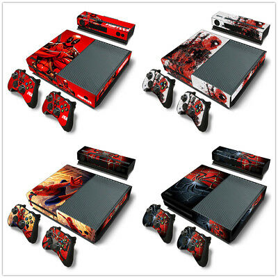 Xbox One Console, 2Controllers and Kinect Skin Sticker Set Spiderman / Deadpool