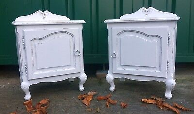 Vintage pair of Louis Style Antique bedside cabinets - Shabby Chic