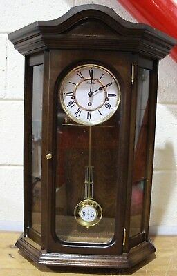 Vintage Chiming Wooden Wall Clock, Made by Woodford + Key - Working - 250
