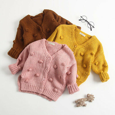 Baby Kid Girl Winter Ball In Hand Down Sweater Jacket Knit Tops Cardigan YU