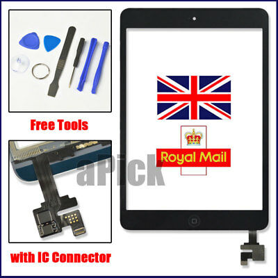 For Black iPad mini 1/2 Touch Glass Digitizer Screen Replacement +IC home button