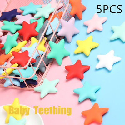 Silicone  Star  Chewable Beads Pacifier Pendent Baby  Teething Teether Necklace