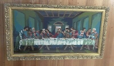 Vintage Religious Solid 1970's Gold Framed Last Supper Completed Tapestry