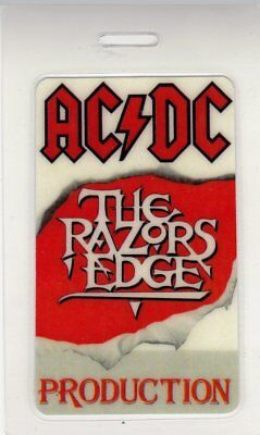 "Ac/dc 1991 ""razors Edge"" Australian Tour Laminated Production Backstage Pass"